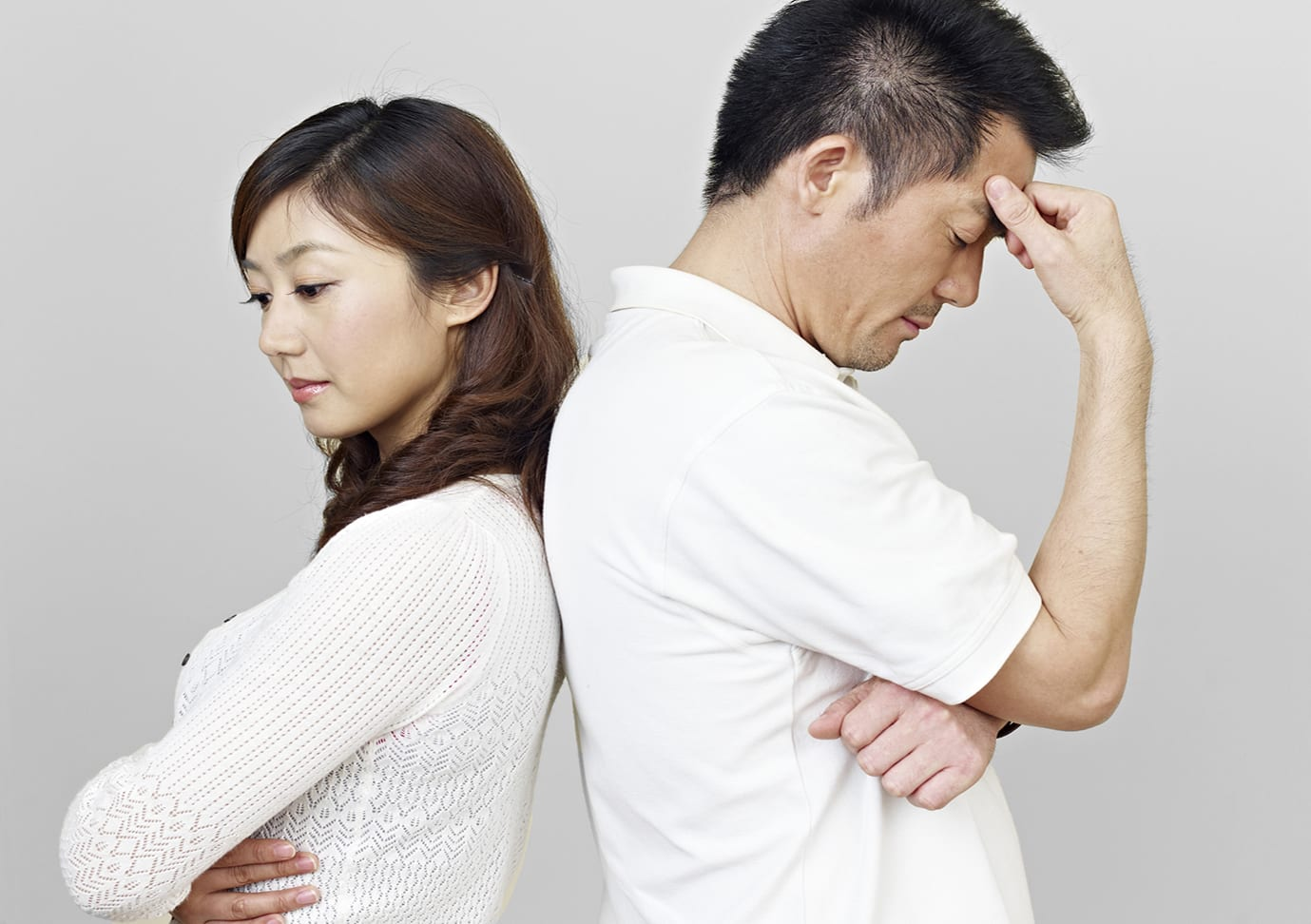 young asian couple having relationship problems.