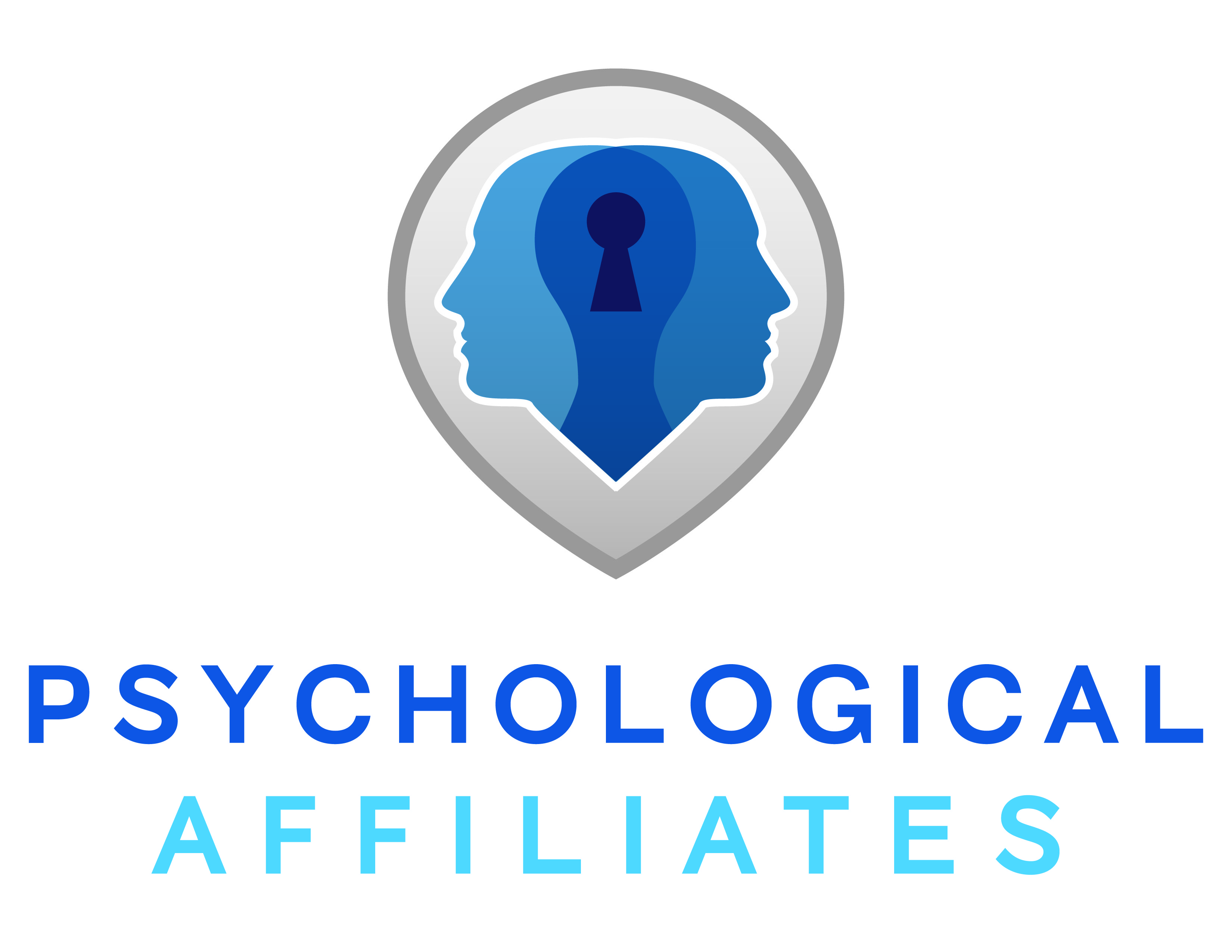 Psychological_Affiliates_Logo Two heads facing away from each other with a keyhole connecting them. Colors are blue and teal.